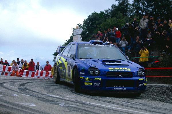 2002 World Rally ChampionshipTour De Corse, Corsica. 8th - 10th March 2002.Petter Solberg / Philip Mills, Subaru Impreza WRC, 5th position overall.World Copyright: McKlein/LAT Photographicref: 35mm Image 02 WRC 15