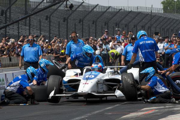 Felix Rosenqvist, Chip Ganassi Racing Honda, during pit stop competition