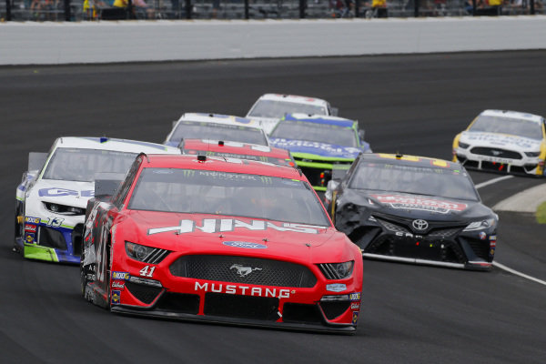 #41: Daniel Suarez, Stewart-Haas Racing, Ford Mustang Haas Automation and #13: Ty Dillon, Germain Racing, Chevrolet Camaro GEICO