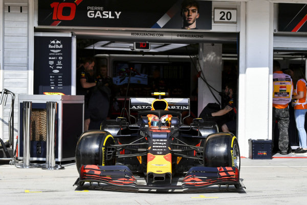 Pierre Gasly, Red Bull Racing RB15, leaves the garage