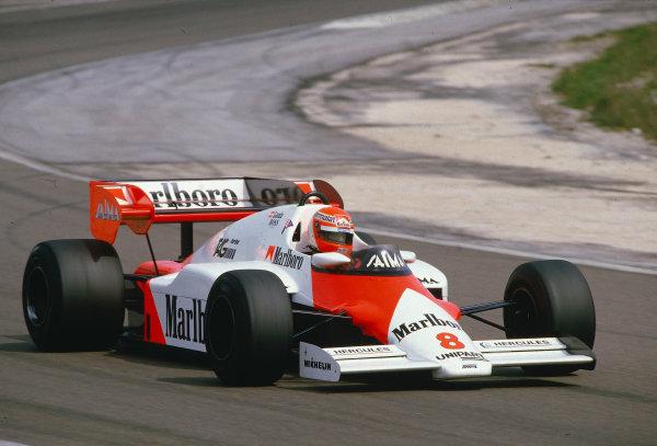 1984 French Grand Prix.Dijon-Prenois, France.18-20 May 1984.Niki Lauda (McLaren MP4/2 TAG Porsche) 1st position.Ref-84 FRA 23.World Copyright - LAT Photographic