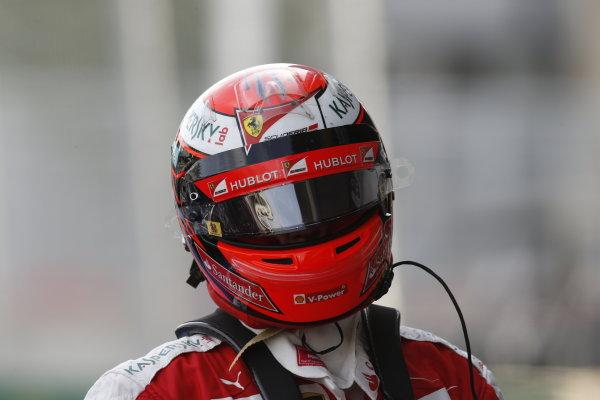 Baku City Circuit, Baku, Azerbaijan. Saturday 18 June 2016. Kimi Raikkonen, Ferrari, in Parc Ferme after Qualifying. World Copyright: Steven Tee/LAT Photographic ref: Digital Image _X0W1137