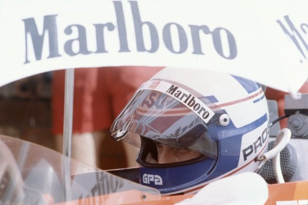 1980 South African Grand Prix.Kyalami, South Africa. 28 February-1 March 1980.Alain Prost (McLaren M29B-Ford Cosworth), did not start after qualifying accident. Portrait in helmet.World Copyright: LAT PhotographicRef: 35mm transparency 80SA15