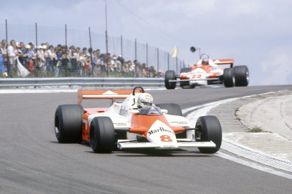 1981 French Grand Prix.Dijon-Prenois, France. 3-5 July 1981.Andrea de Cesaris (McLaren MP4/1-Ford Cosworth) leads Mario Andretti (Alfa Romeo 179B). They finished in 11th and 8th position respectively.World Copyright: LAT PhotographicRef: 35mm transparency 81FRA28