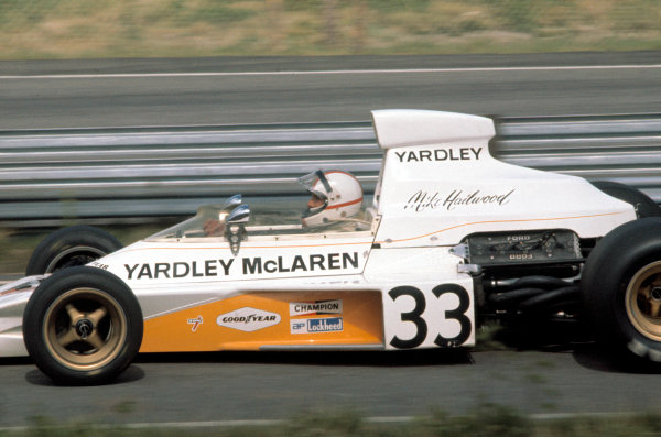 1974 South African Grand Prix.Kyalami, South Africa. 30 March 1974.Mike Hailwood (McLaren M23-Ford), 3rd position.World Copyright: LAT Photographicref: 35mm Transparency Image