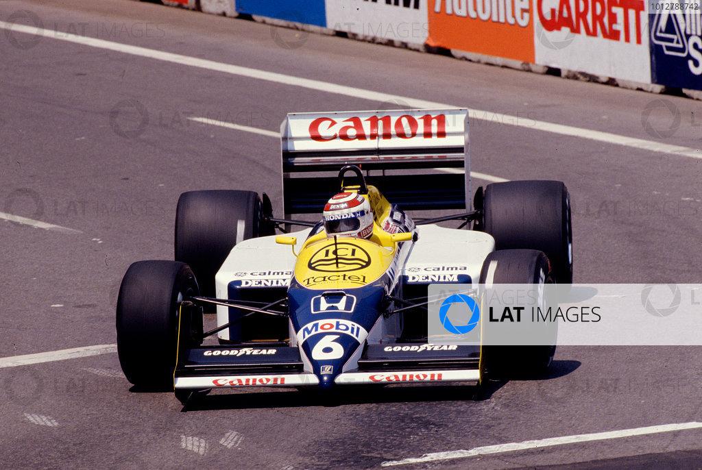 1987 United States Grand Prix.Detroit, Michigan, USA.19-21 June 1987.Nelson Piquet (Williams FW11B Honda) 2nd position.Ref-87 USA 26.World Copyright - LAT Photographic