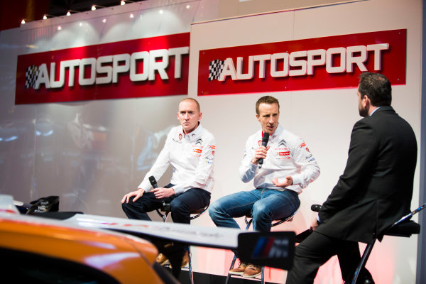 Autosport International Exhibition. National Exhibition Centre, Birmingham, UK. Friday 9 January 2015. Kris Meeke and Paul Nagle on the Autosport stage. World Copyright: Malcolm Griffiths/LAT Photographic. ref: Digital Image A50A0768