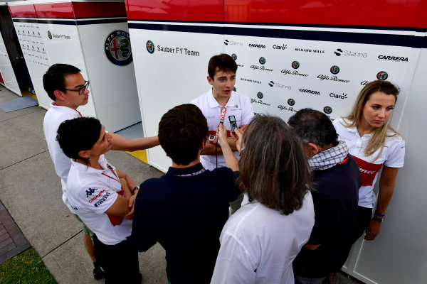 Charles Leclerc (MON) Alfa Romeo Sauber F1 Team talks with the media