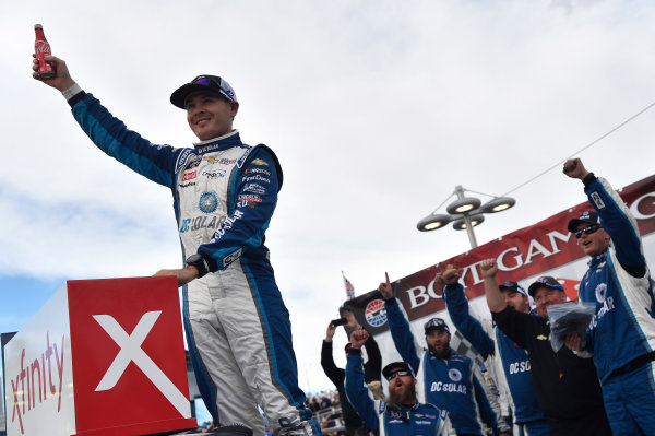 NASCAR Xfinity Series Boyd Gaming 300 Las Vegas Motor Speedway, Las Vegas, NV USA Saturday 3 March 2018 Kyle Larson, Chip Ganassi Racing, Chevrolet Camaro DC Solar celebrates his win World Copyright: Nigel Kinrade NKP / LAT Images