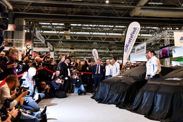 Autosport International Exhibition. National Exhibition Centre, Birmingham, UK. Thursday 11th January 2017. Malcolm Wilson, Sebastien Ogier and Elfyn Evans from M-Sport Ford gather at the WRC season launch.World Copyright: Mark Sutton/Sutton Images/LAT Images Ref: DSC_7207