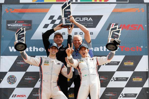 #7 Acura Team Penske Acura DPi, P: Helio Castroneves, Ricky Taylor, podium, Tim Cindric, Art StCyr