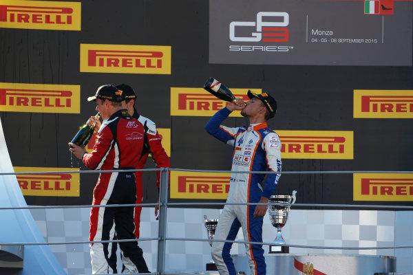2015 GP3 Series Round 6. Autodromo di Monza, Italy. Sunday 6 September 2015. Marvin Kirchhofer (GER, ART Grand Prix), Esteban Ocon (FRA, ART Grand Prix) & Luca Ghiotto (ITA, Trident)  World Copyright: Sam Bloxham/LAT Photographic. ref: Digital Image _SBL3769