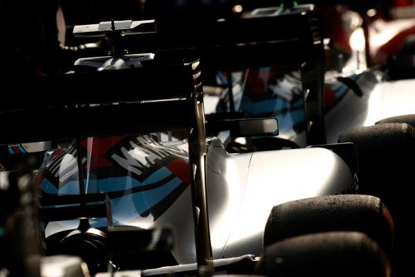 Shanghai International Circuit, Shanghai, China. Saturday 11 April 2015. The cars of Felipe Massa, Williams FW37 Mercedes, and Valtteri Bottas, Williams FW37 Mercedes, in Parc Ferme. World Copyright: Glenn Dunbar/LAT Photographic. ref: Digital Image _W2Q4417