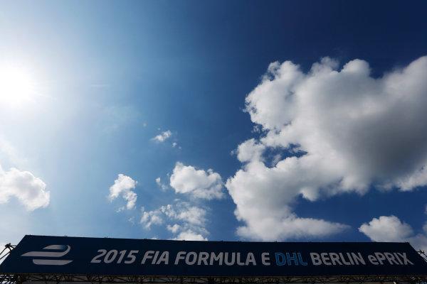 2014/2015 FIA Formula E Championship. Berlin ePrix, Berlin Tempelhof Airport, Germany. Friday 22 May 2015 The start line banner. Photo: Zak Mauger/LAT/Formula E ref: Digital Image _L0U6654