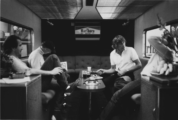 Imola, Italy. 29th April - 1st May 1983. John Watson (McLaren MP4/1C-Ford), 5th position with Niki Lauda (McLaren MP4/12C-Ford), retired and James Hunt in the Marlboro motorhome, portrait.  World Copyright: LAT Photographic.  Ref:  B/W Print.