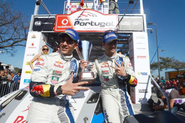 Sebastien Ogier (FRA) and Julien Ingrassia (FRA), VW celebrate victory on the podium.FIA World Rally Championship, Rd4, Rallye de Portugal, Day Three, Algarve, Portugal, Sunday 14 April 2013.