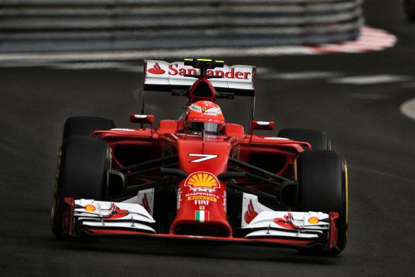 Kimi Raikkonen (FIN) Ferrari F14 T. Formula One World Championship, Rd6, Monaco Grand Prix, Practice, Monte-Carlo, Monaco, Thursday 22 May 2014.