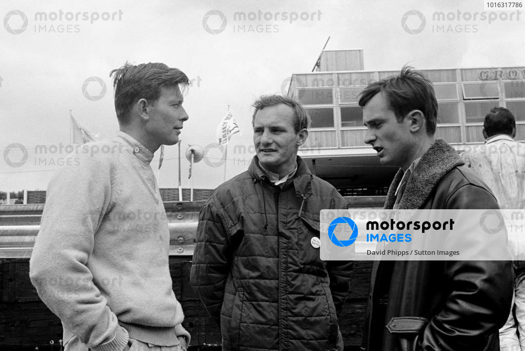 British GP , Brands Hatch, 11 July 1964  R to L Chris Amon, Mike Hailwood and John Taylor