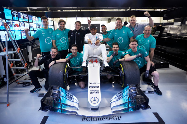 Shanghai International Circuit, Shanghai, China.  Sunday 9 April 2017. Lewis Hamilton, Mercedes AMG, 1st Position, celebrates victory with his race team. World Copyright: Steve Etherington/LAT Images ref: Digital Image SNE19118