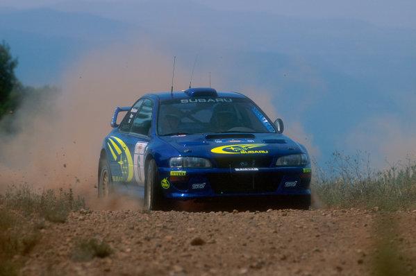 1999 World Rally Championship Acropolis Rally, Greece. 6th - 9th June 1999. Juha Kankkunen, Subaru Impreza, action. World Copyright: McKlein/LAT Photographic