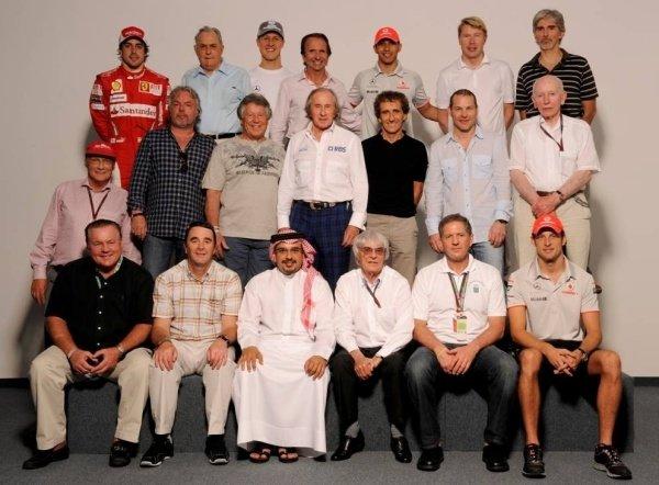 The F1 World Champions Group Photo Back Row (L to R): Fernando Alonso (ESP) Ferrari, Jack Brabham (AUS), Michael Schumacher (GER), Emerson Fittipaldi (BRA), Lewis Hamilton (GBR), Mika Hakkinen (FIN) and Damon Hill (GBR). Middle Row (L to R): Niki Lauda (AUT), Keke Rosberg (FIN), Mario Andretti (USA), Jackie Stewart (GBR), Alain Prost (FRA), Jacques Villeneuve (CDN) and John Surtees (GBR). Front Row (L to R): Alan Jones (AUS), Nigel Mansell (GBR), Crown Prince Shaikh Salman bin Isa Hamad Al Khalifa, Bernie Ecclestone (GBR) CEO Formula One Group, Jody Scheckter (RSA) and Jenson Button (GBR). Formula One World Championship, Rd 1, Bahrain Grand Prix, Qualifying Day, Bahrain International Circuit, Sakhir, Bahrain, Saturday 13 March 2010.