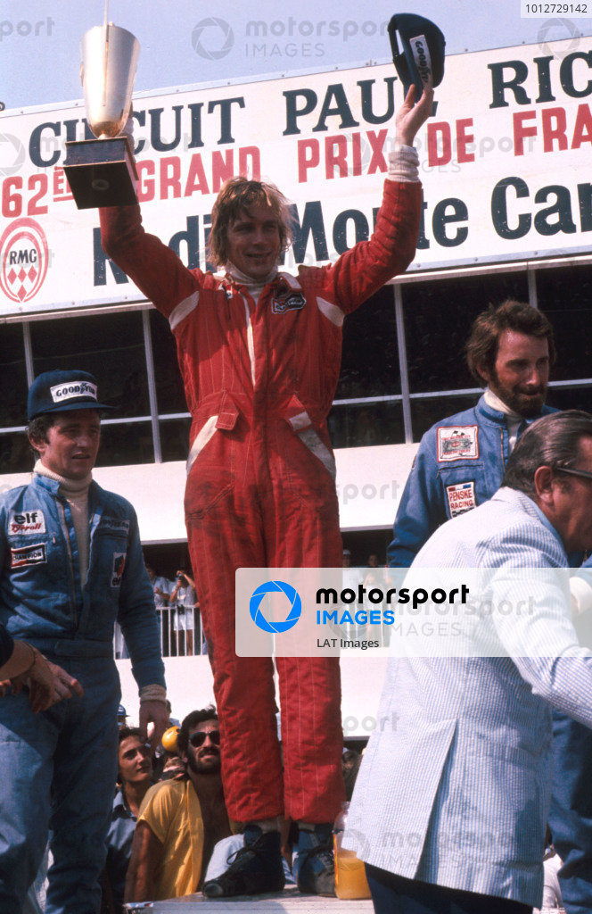 1976 French Grand Prix.Paul Ricard, Le Castellet, France.2-4 July 1976.James Hunt (McLaren Ford) 1st position, Patrick Depailler (Tyrrell Ford) 2nd position and John Watson (Penske Ford) 3rd position on the podium. Ref-76 FRA 05.World Copyright - LAT Photographic