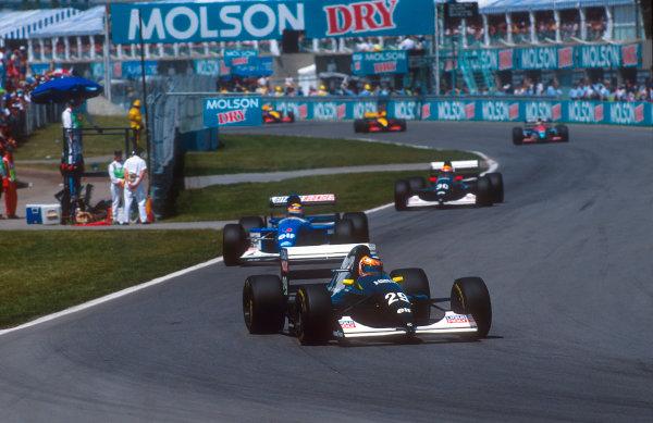1993 Canadian Grand Prix.Montreal, Quebec, Canada.11-13 June 1993.Karl Wendlinger (Sauber C12 Ilmor) 6th position followed by Mark Blundell (Ligier JS39 Renault) and teammate J J. Lehto (Sauber C12 Ilmor).Ref-93 CAN 12.World Copyright - LAT Photographic