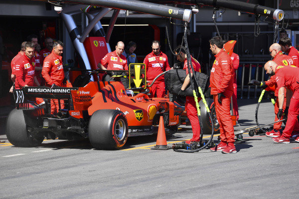 Charles Leclerc, Ferrari SF90, in the pits during practice