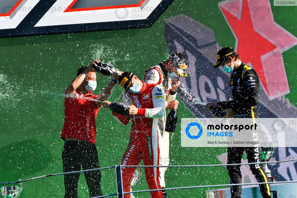 Race Winner Mick Schumacher (DEU, PREMA RACING), Luca Ghiotto (ITA, HITECH GRAND PRIX), 2nd position, and Christian Lundgaard (DNK, ART GRAND PRIX), 3rd position,  celebrate on the podium with the champagne