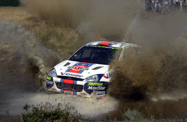 2001 World Rally Championship.Acropolis Rally June 14-17, 2001.Colin McRae makes a splash on the final stage.Photo: Ralph Hardwick/LAT