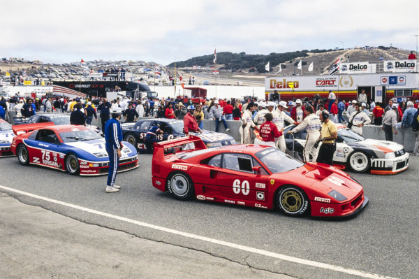 Jean Alesi, Ferrari France, Ferrari F40, and Steve Millen, Cunningham Racing, Nissan 300ZX Turbo, on the grid.