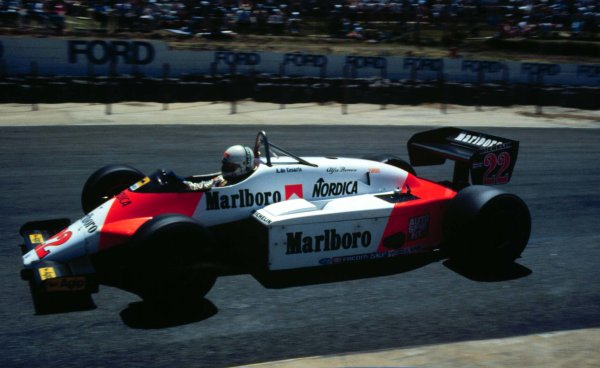 1983 South African Grand Prix.Kyalami, South Africa.13-15 October 1983.Andrea de Cesaris (Alfa Romeo 183T) 2nd position.World Copyright - LAT Photographic