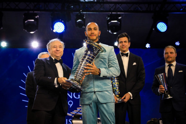 Jean Todt, President, FIA, and Lewis Hamilton, Mercedes AMG F1, on stage with Toto Wolff, Executive Director (Business), Mercedes AMG, and Valtteri Bottas, Mercedes AMG F1