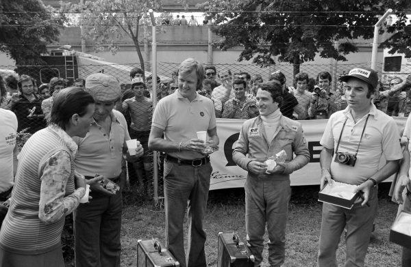 Vittorio Brambilla, Ronnie Peterson, Patrick Depailler, and Bernard Cahier.