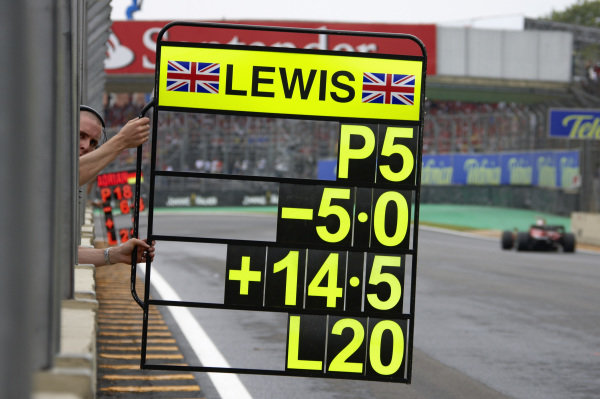Hamilton's pit board shows his recquired 5th position to win the championship.