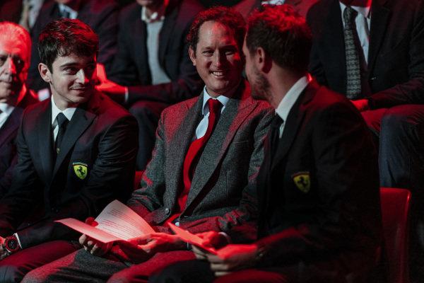 Charles Leclerc, Ferrari,  John Elkann, FIAT Chairman and Sebastian Vettel, Ferrari
