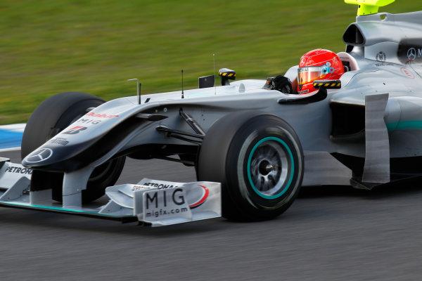 Jerez, Spain.11th February 2010.Michael Schumacher, Mercedes GP W01. Action.World Copyright: Andrew Ferraro /LAT Photographicref: Digital Image_Q0C5860 jpg