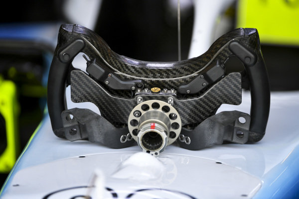 The steering wheel from a Williams FW42