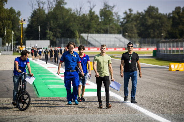 AUTODROMO NAZIONALE MONZA, ITALY - SEPTEMBER 05: Devlin DeFrancesco (CAN, Trident) and Niko Kari (FIN, Trident) during the Monza at Autodromo Nazionale Monza on September 05, 2019 in Autodromo Nazionale Monza, Italy. (Photo by Sam Bloxham / LAT Images / FIA F3 Championship)