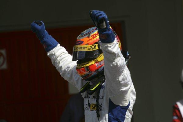 2007 GP2 Series. Round 2. Sunday RaceBarcelona, Spain. 13th May 2007. Timo Glock (GER, iSport International) celebrates victory. World Copyright: Andrew Ferraro/GP2 Series Media Sevice  ref: Digital Image ZP9O7145