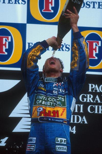 Tanaka International, Aida, Japan.15-17 April 1994.Michael Schumacher (Benetton Ford) 1st position on the podium.Ref-94 PAC 14.World Copyright - LAT Photographic