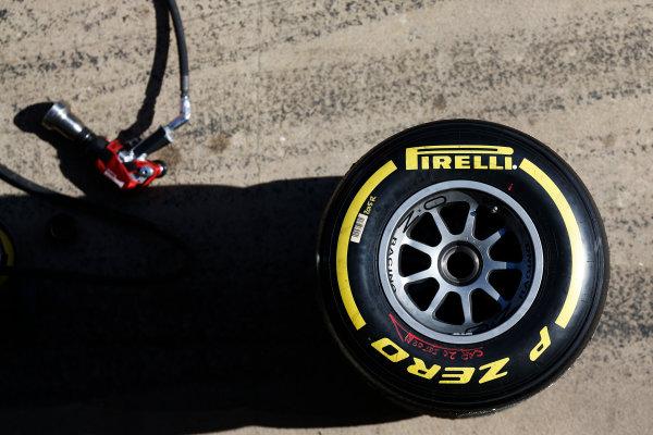 2016 GP2 Series Test 1. Circuit de Catalunya, Barcelona, Spain. Friday 11 March 2016. A Pirelli tyre and wheel gun in the pit lane World Copyright: Sam Bloxham/LAT Photographic. ref: Digital Image _R6T9156