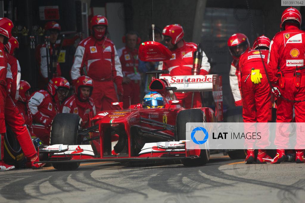 Shanghai International Circuit, Shanghai, China Sunday 14th April 2013 Fernando Alonso, Ferrari F138, leaves the pits. World Copyright: Andy Hone/LAT Photographic ref: Digital Image HONZ7021