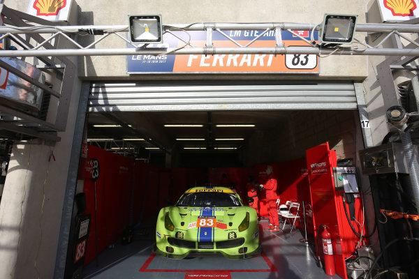 2017 Le Mans 24 Hours Circuit de la Sarthe, Le Mans, France. Thursday 15th June 2017 #83 DH Racing Ferrari 488 GTE: Tracy Krohn, Niclas Jonsson, Andrea Bertolini  World Copyright: JEP/LAT Images