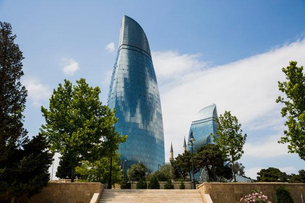 Baku City Circuit, Baku, Azerbaijan. Wednesday 21 June 2017. A view of the Flame Towers from Dagustu (Upland) Park. World Copyright: Zak Mauger/LAT Images ref: Digital Image _56I5981