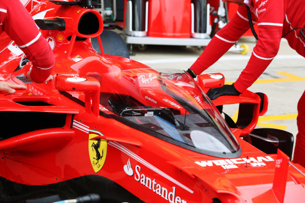 Silverstone, Northamptonshire, UK.  Friday 14 July 2017. Shield frontal protection system fitted to the car of Sebastian Vettel, Ferrari SF70H, for first practice. World Copyright: Charles Coates/LAT Images  ref: Digital Image AN7T4046