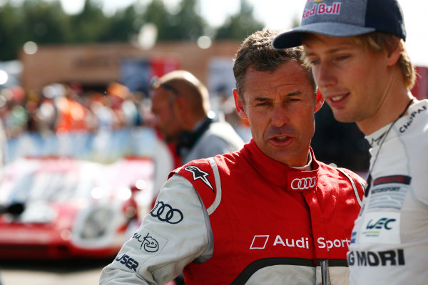 Red Bull Ring, Spielberg, Austria. Saturday 08 July 2017. Tom Kristensen and Brendon Hartley at the Legends Parade. World Copyright: Andy Hone/LAT Images ref: Digital Image _ONY1610