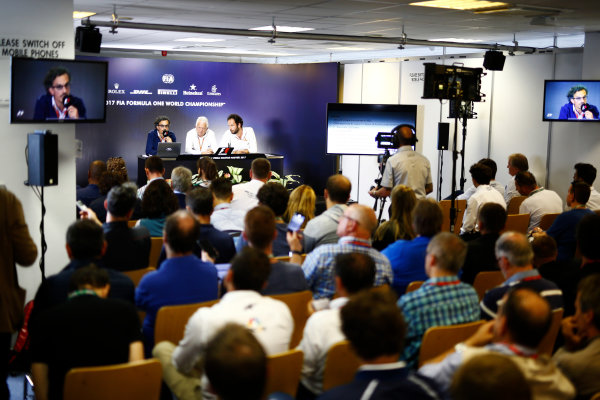 Hungaroring, Budapest, Hungary.  Thursday 27 July 2017. Laurent Mekies, F1 Deputy Race Director, FIA, Charlie Whiting, Race Director, FIA and Matteo Bonciani, Head of FIA Communications and Media Delegate, host a press conference about the introduction of the halo. World Copyright: Andy Hone/LAT Images  ref: Digital Image _ONZ7662