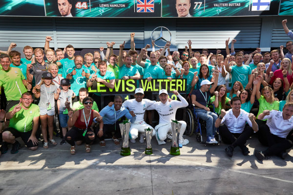 Autodromo Nazionale di Monza, Italy. Sunday 3 September 2017. Lewis Hamilton, Mercedes AMG, 1st Position, Valtteri Bottas, Mercedes AMG, 2nd Position, and the Mercedes team celebrate victory. World Copyright: Steve Etherington/LAT Images  ref: Digital Image SNE14733