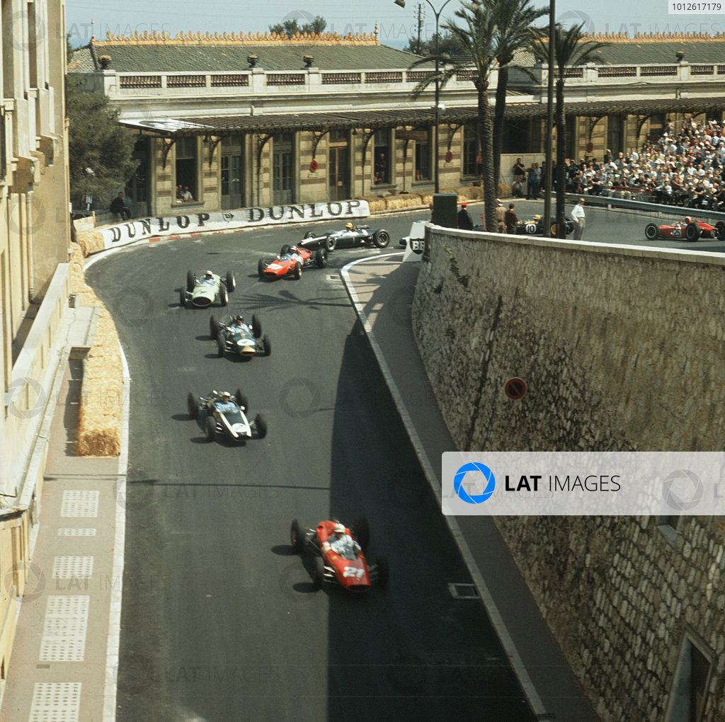 Monte Carlo, Monaco.23-26 May 1963.John Surtees (Ferrari Dino 156) leads the field out of Station Hairpin.Ref-3/0935.World Copyright - LAT Photographic